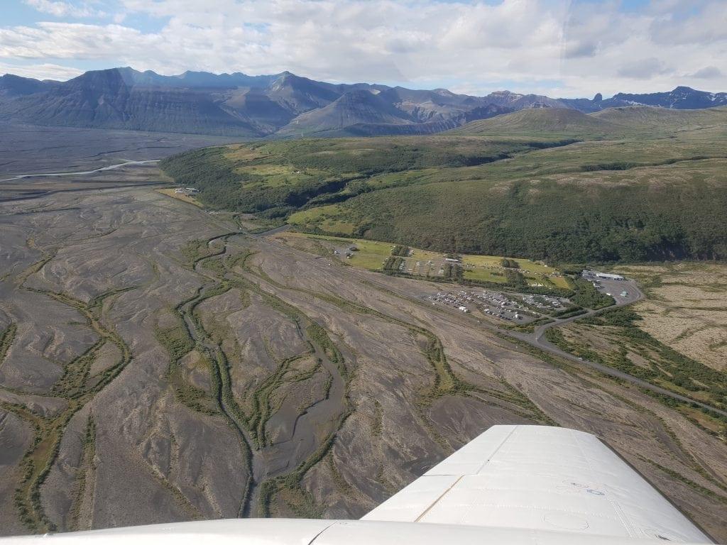 Flying over Skaftafell in Vatnajökull National Park